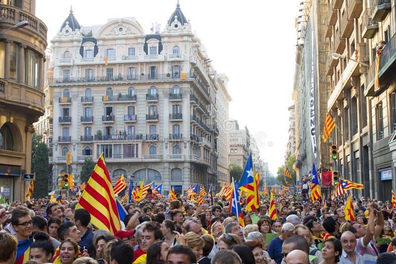 Protesta per indipendenza della Catalogna immagini stock libere da diritti