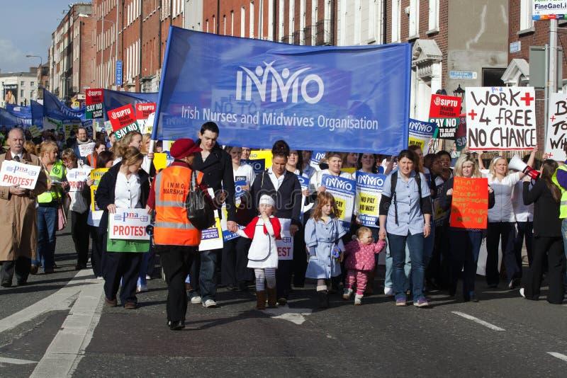 Protesta sobre cortes previstos imágenes de archivo libres de regalías