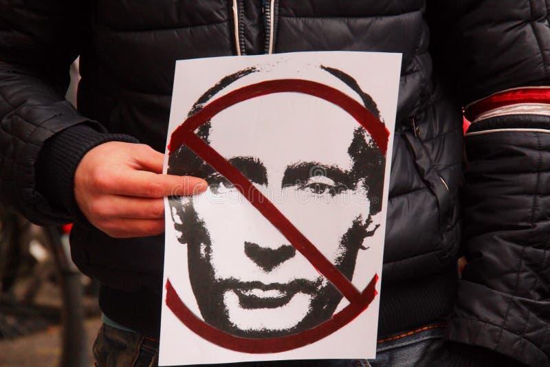 Protesta ucraina della comunità contro Putin immagini stock