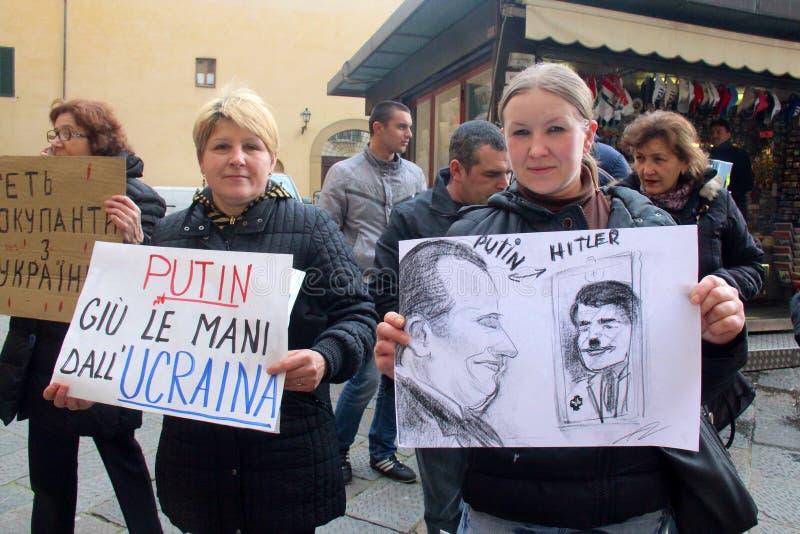 Protesta ucraniana de la comunidad contra Putin foto de archivo