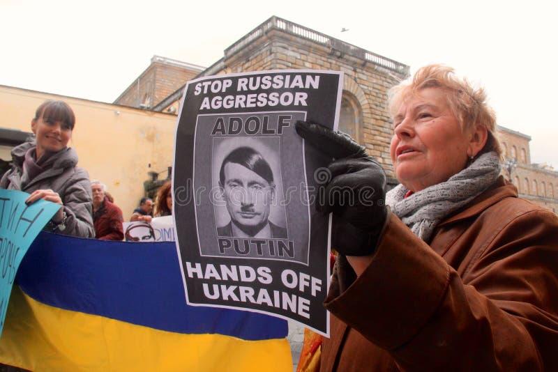 Protesta ucraniana de la comunidad contra Putin imágenes de archivo libres de regalías