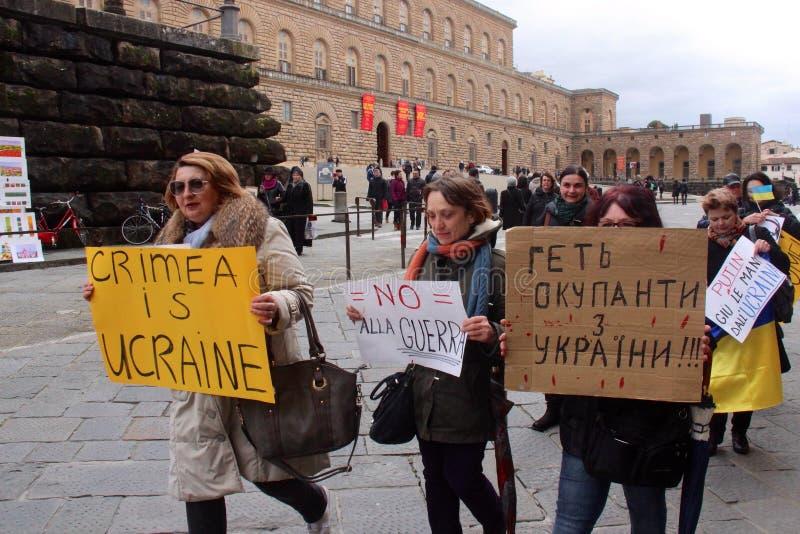 Protesta ucraniana de la comunidad contra Putin imagen de archivo