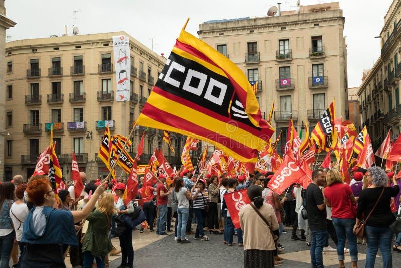 Protestactie in Barcelona tot steun van afscheiding van Spanje stock afbeelding