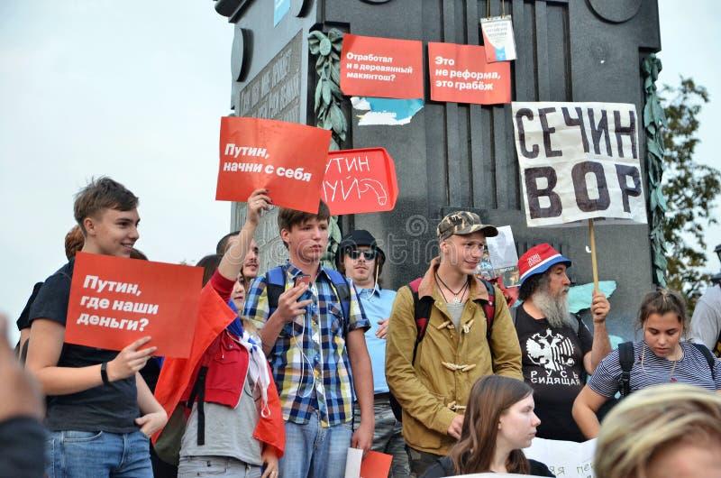 Protestactie in Moskou op stad dag 2018 stock fotografie