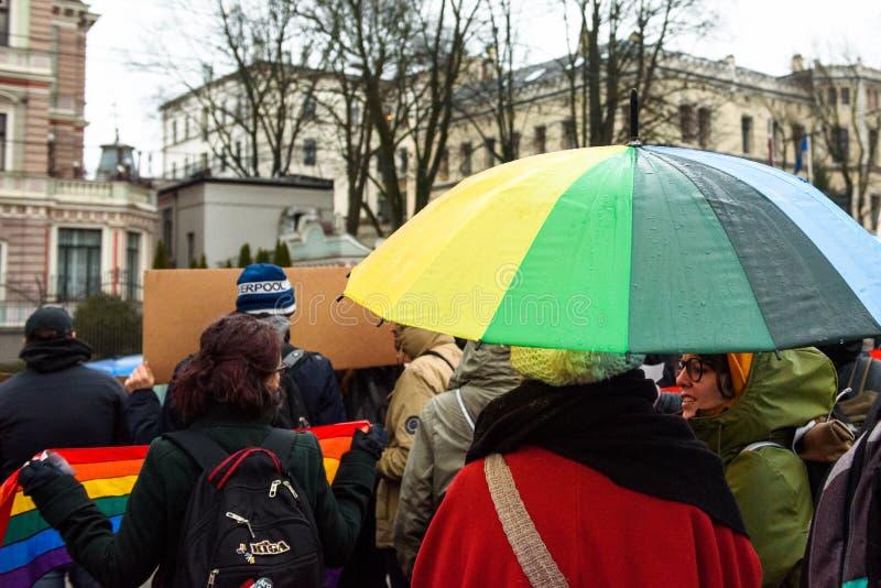 Protestacyjna akcja pokazywać solidarność z Chechnya's LGBT fotografia stock