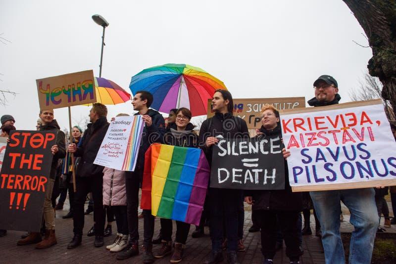 Protestacyjna akcja pokazywać solidarność z Chechnya's LGBT fotografia royalty free