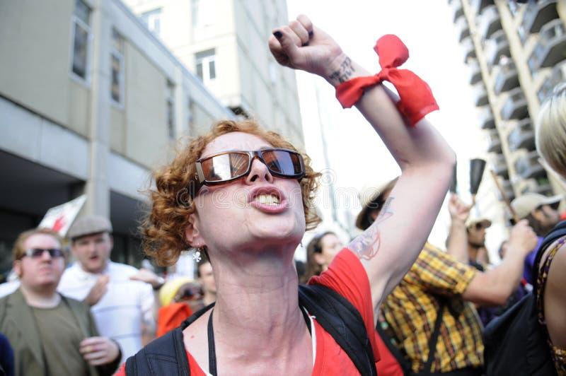 Protestador irritado. foto de stock