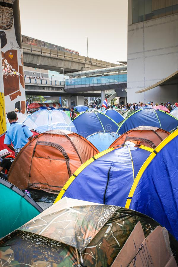 Protestadores da barraca imagens de stock royalty free