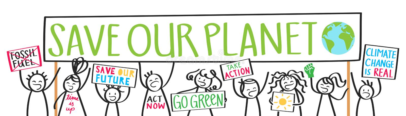 Protestadores das crianças da escola, alterações climáticas, economias nosso planeta ilustração do vetor