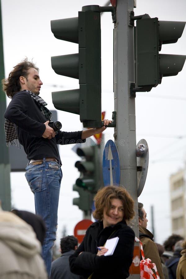 Protestadores de Atenas 09-01-09 foto de stock