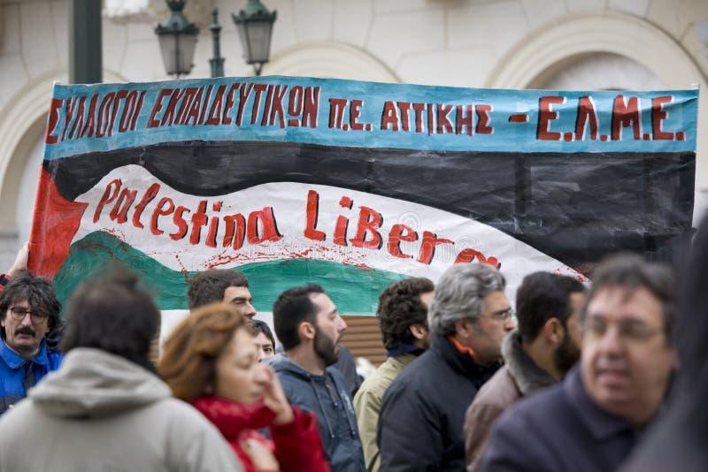 Protestadores de Atenas 19-01-09 foto de stock