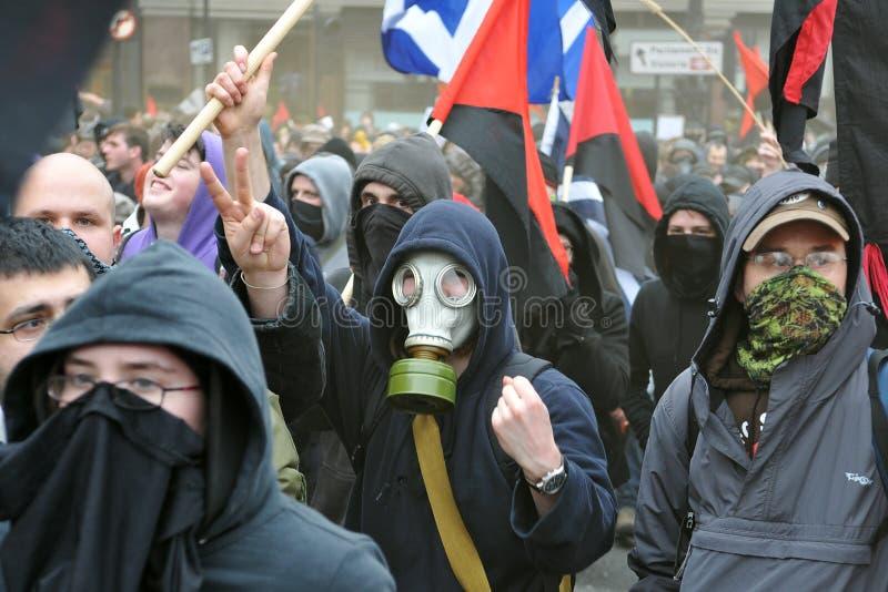 Protestadores do anarquista em Londres fotografia de stock royalty free