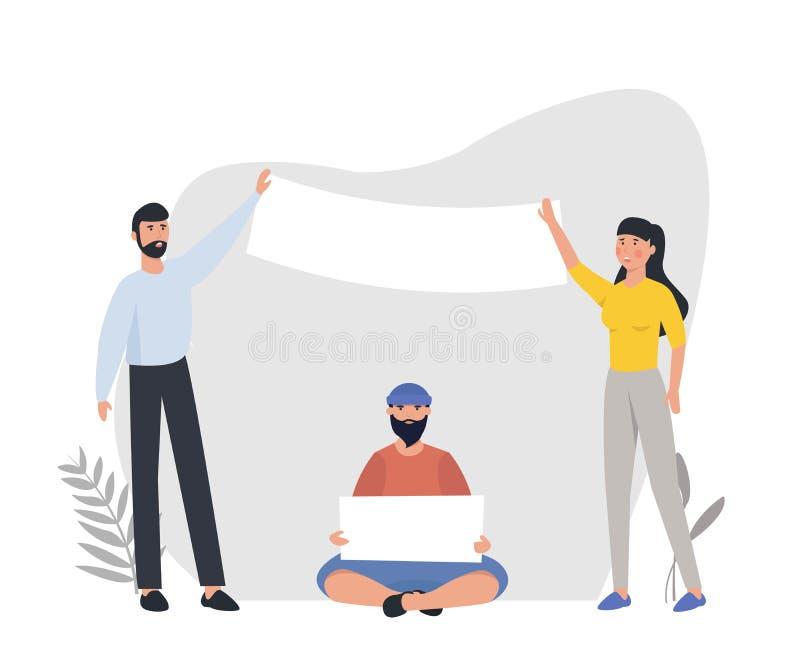 Protestando os povos que guardam bandeiras e cartazes Homens e mulheres que participam na parada ou na reunião Ilustração do veto ilustração stock