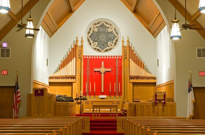 Protestant church chancel stock photo