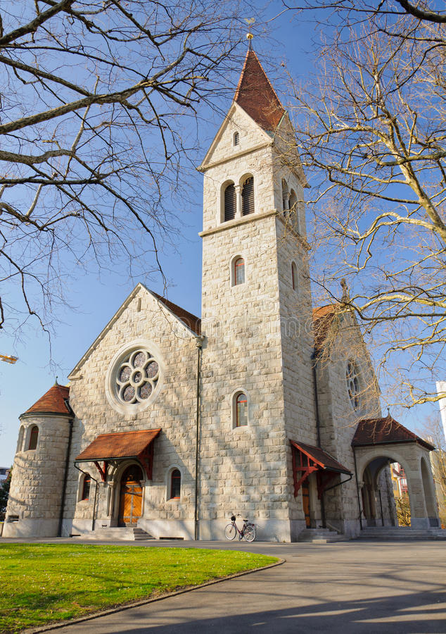 Download Protestant church in Zug stock photo. Image of zugo, switzerland - 26410172