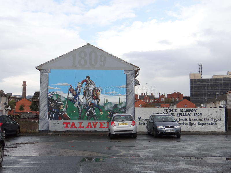 Protestant Wall in Belfast stock photo