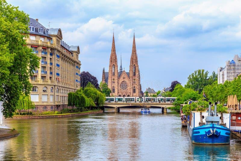 Protestantkyrka Strasbourg arkivbild