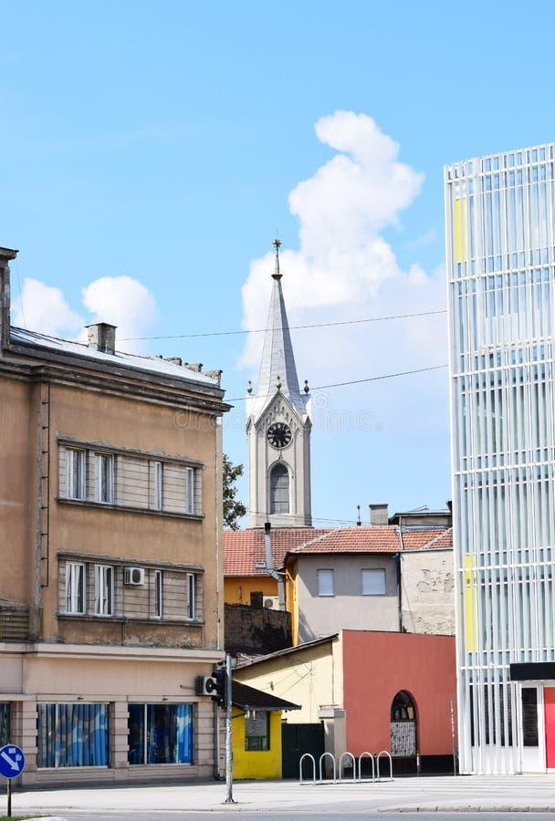 Protestantse kerk in Novi Sad stock afbeelding