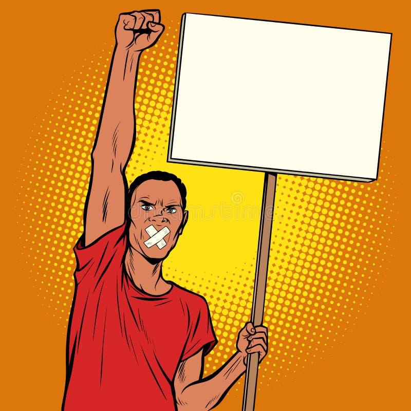 Protestas amordazadas hombre africano ilustración del vector