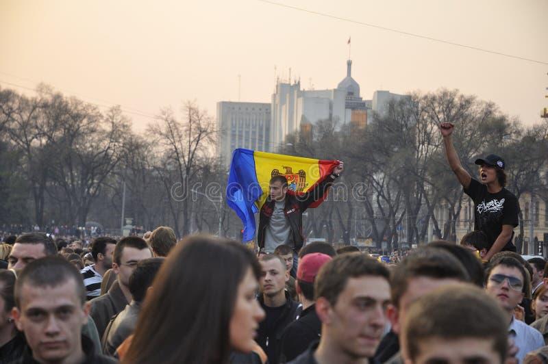 Protestas anticomunistas de los manifestantes en Chisinau fotografía de archivo libre de regalías