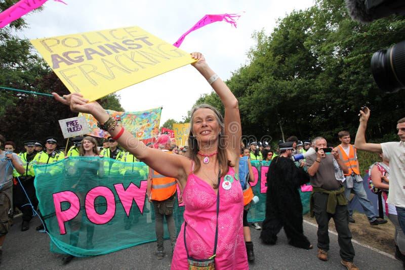 Protestas De Balcombe Fracking Imagen editorial