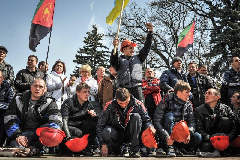 Protestas totales de mineros imagen de archivo