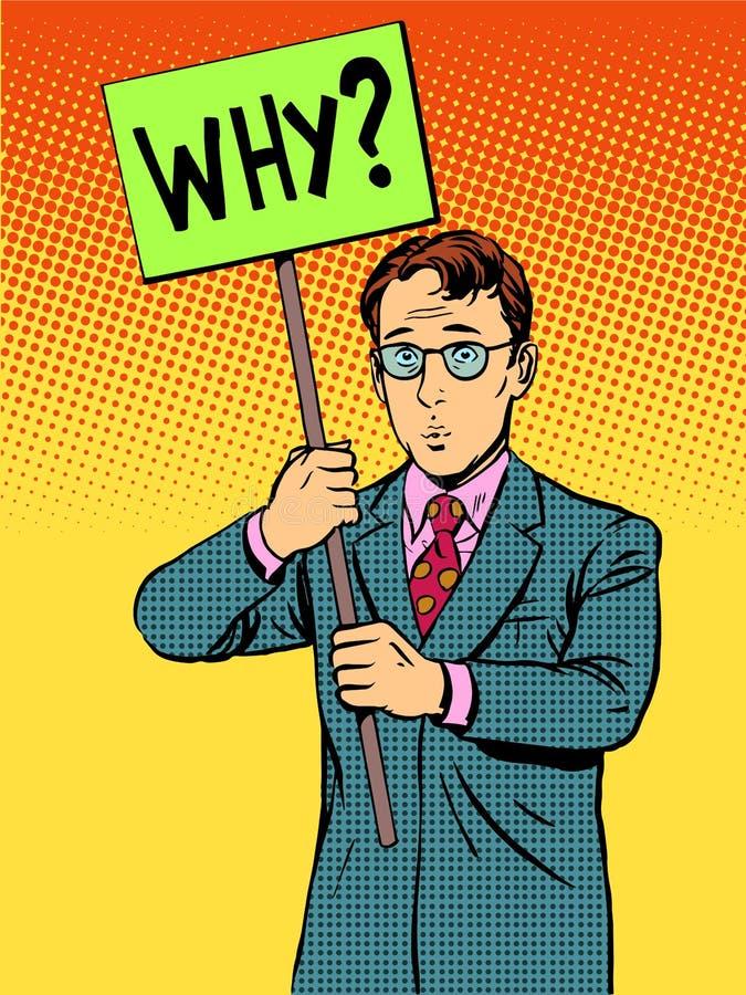 Protestataire avec une affiche pourquoi illustration libre de droits