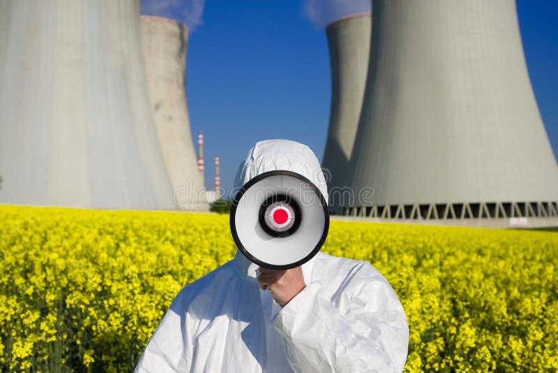 protestataire d'énergie nucléaire images stock