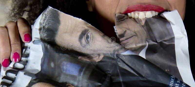 Protestataire d'Anti-Sarkozy. image stock