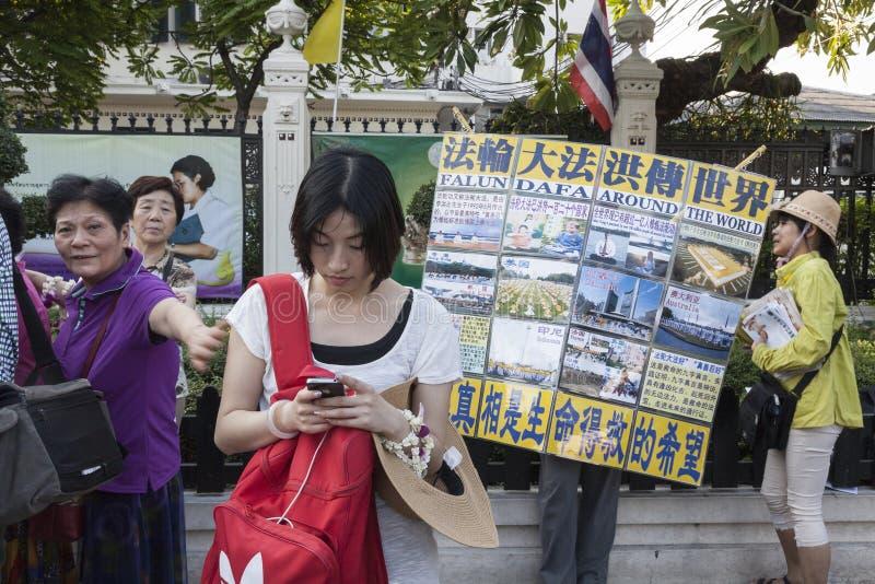 Protestataire de Falun Gong dans Bangkokg images libres de droits