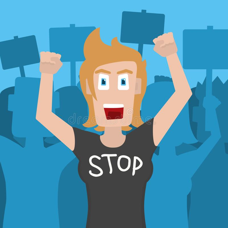 Protestataire et activiste de femme utilisant un T-shirt qui indique l'ARRÊT Illustration de vecteur illustration stock