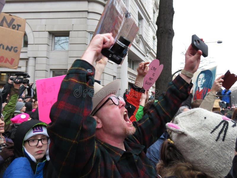 Protestataire fâché au défilé inaugural photographie stock libre de droits
