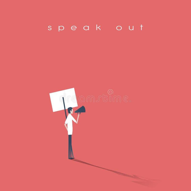 Protestataire parlant par le mégaphone ou le corne de brume et tenant une plaquette, icône de vecteur de bannière Symbole d'activ illustration stock