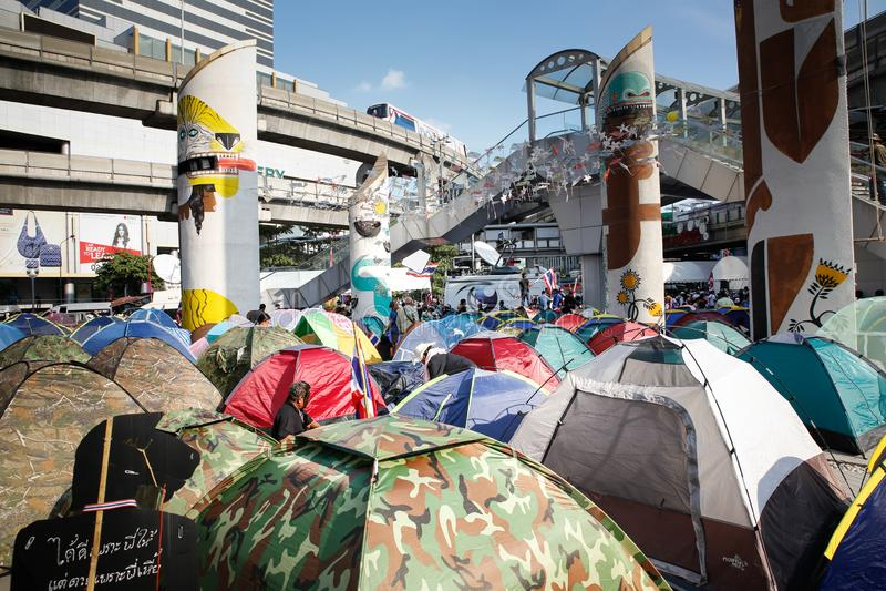 Protestataires de tente photo libre de droits