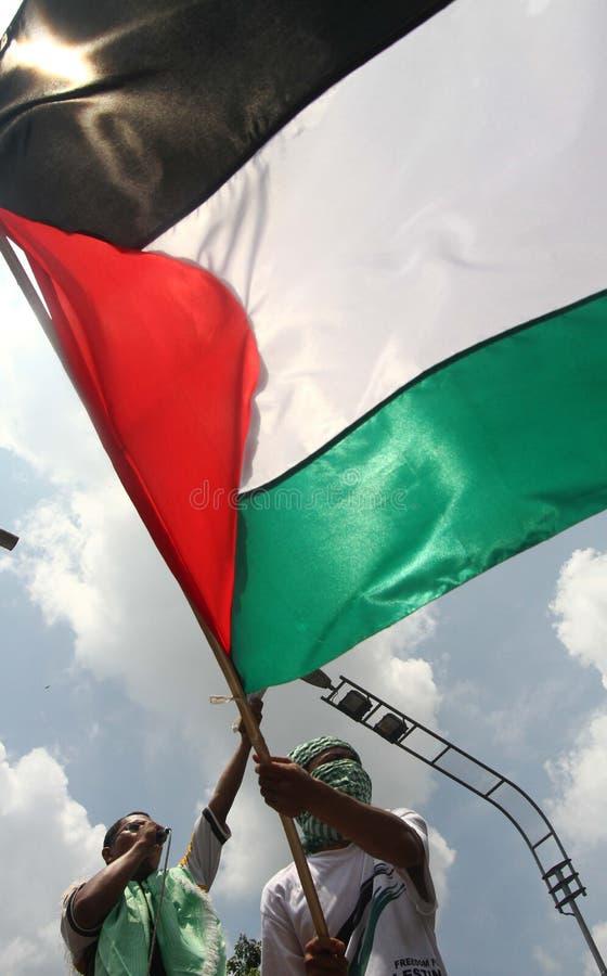 Protestataires tenant le glag de géant de la Palestine photo libre de droits