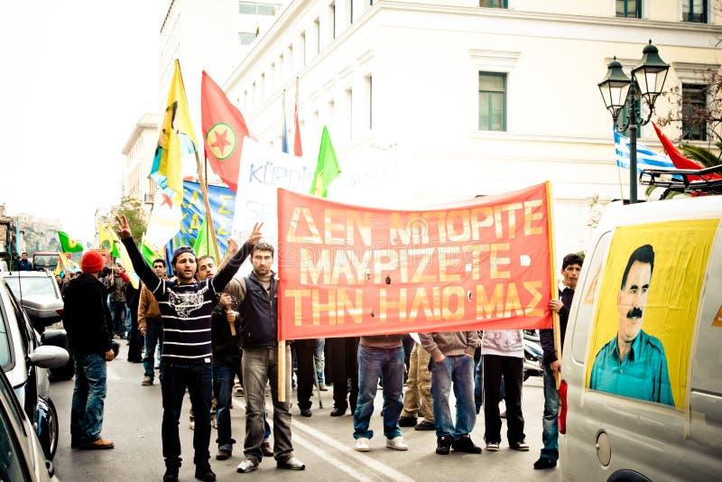Protestateurs à Athènes du centre images libres de droits