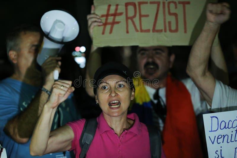 Protestation à Bucarest photographie stock libre de droits