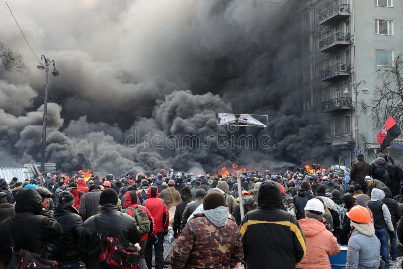 Protestation anti-gouvernement à Kiev photo libre de droits