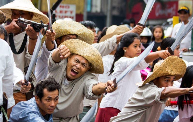 Protestation anti-gouvernement pendant la 150th date de naissance d'Andres Bonifacio images libres de droits