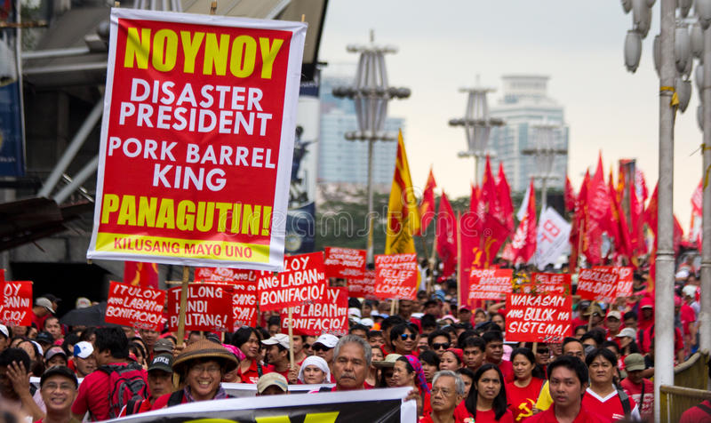 Protestation anti-gouvernement pendant la 150th date de naissance d'Andres Bonifacio photo stock