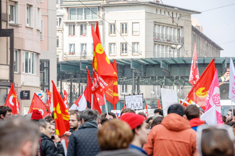 Protestation contre des réformes de travail dans les Frances photo stock