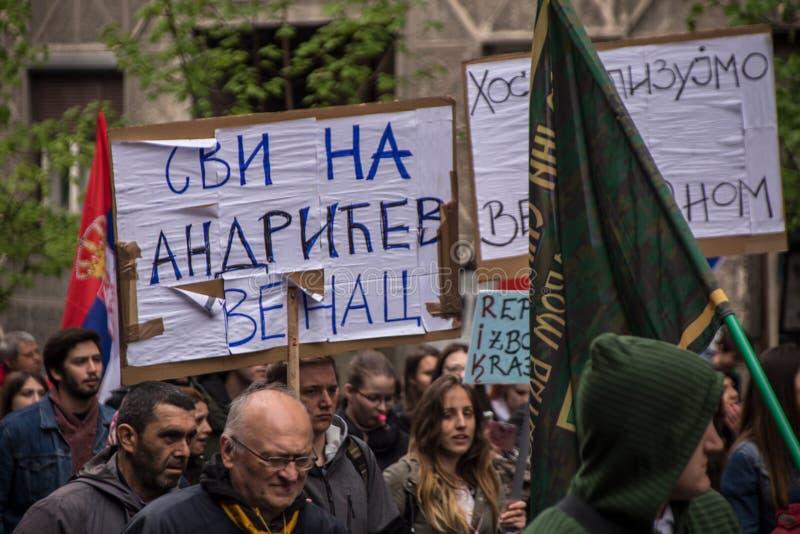 Protestation contre l'élection de premier ministre Aleksandar Vucic comme président, Belgrade image libre de droits