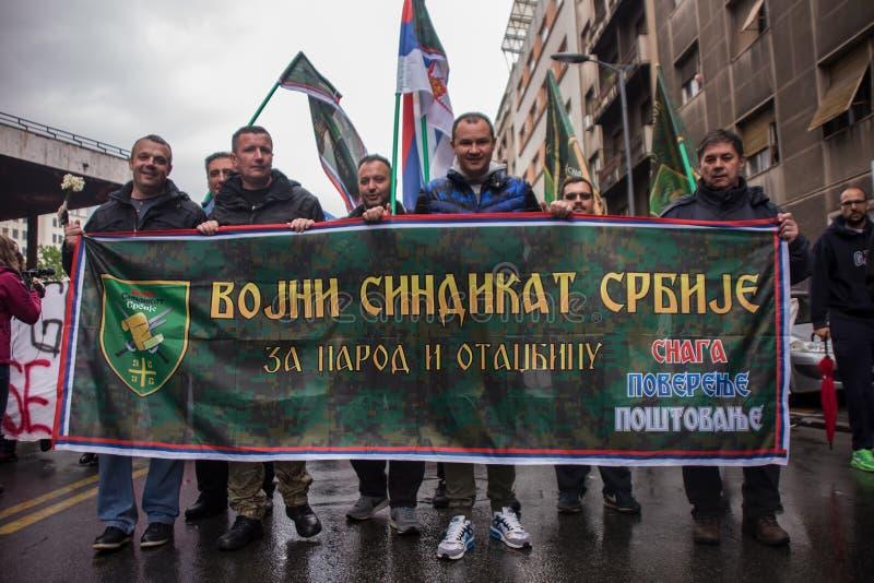 Protestation contre l'élection de premier ministre Aleksandar Vucic comme président, Belgrade image stock