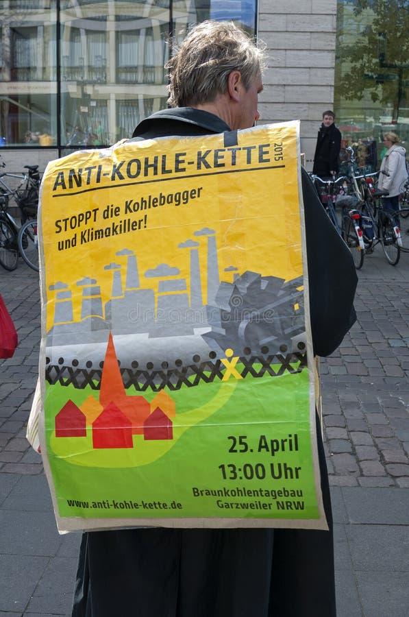 Protestation contre le charbonnage brun en Allemagne images libres de droits