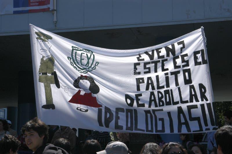 Protestation d'étudiant au Chili photographie stock libre de droits
