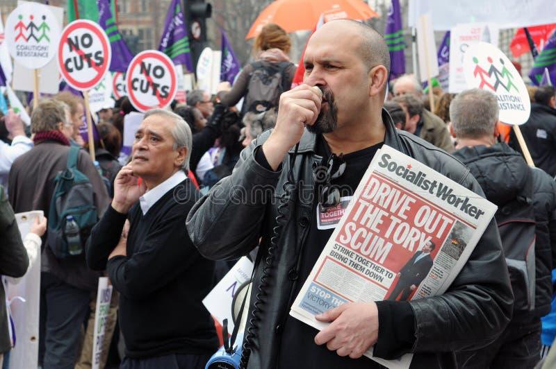 Protestation d'austérité de Londres images libres de droits