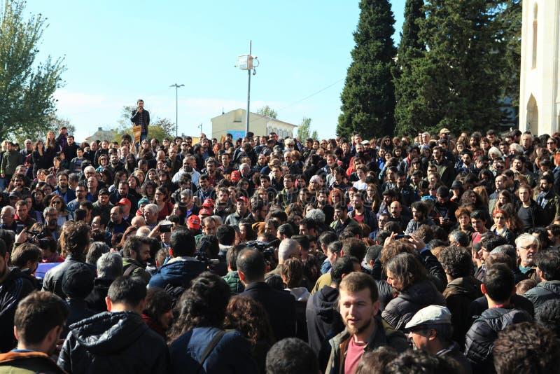 Protestation d'universitaires en Turquie photographie stock