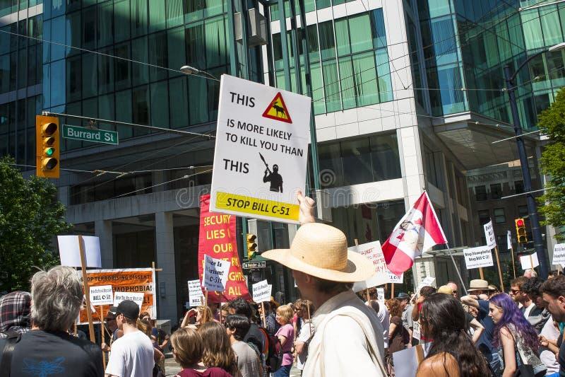 Protestation de Bill C-51 (acte d'Anti-terrorisme) à Vancouver photo stock