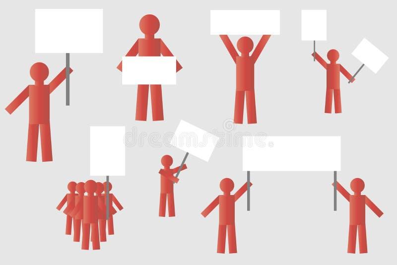 Protestation de grève des personnes avec des affiches silhouette des personnes rouges d'isolement simples avec des affiches illustration libre de droits