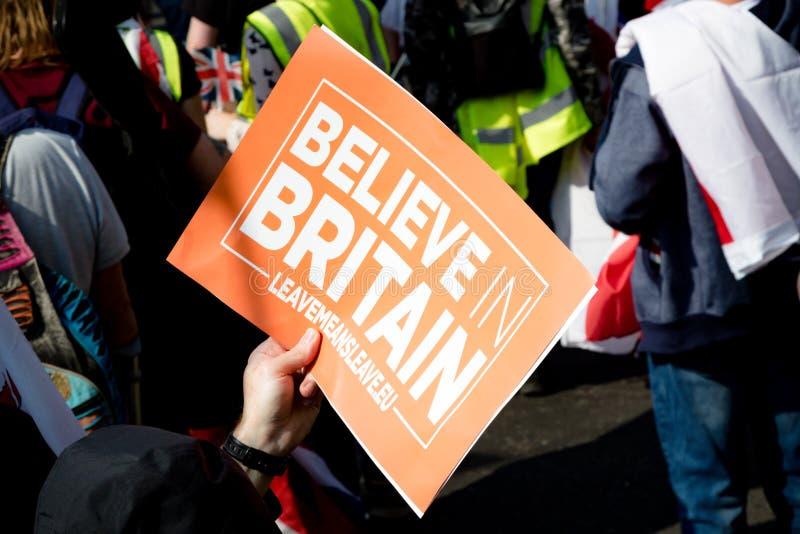 Protestation de jour de Brexit à Londres photo stock
